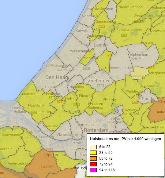 Aantal installaties met zonnepanelen in Leidschendam-Voorburg